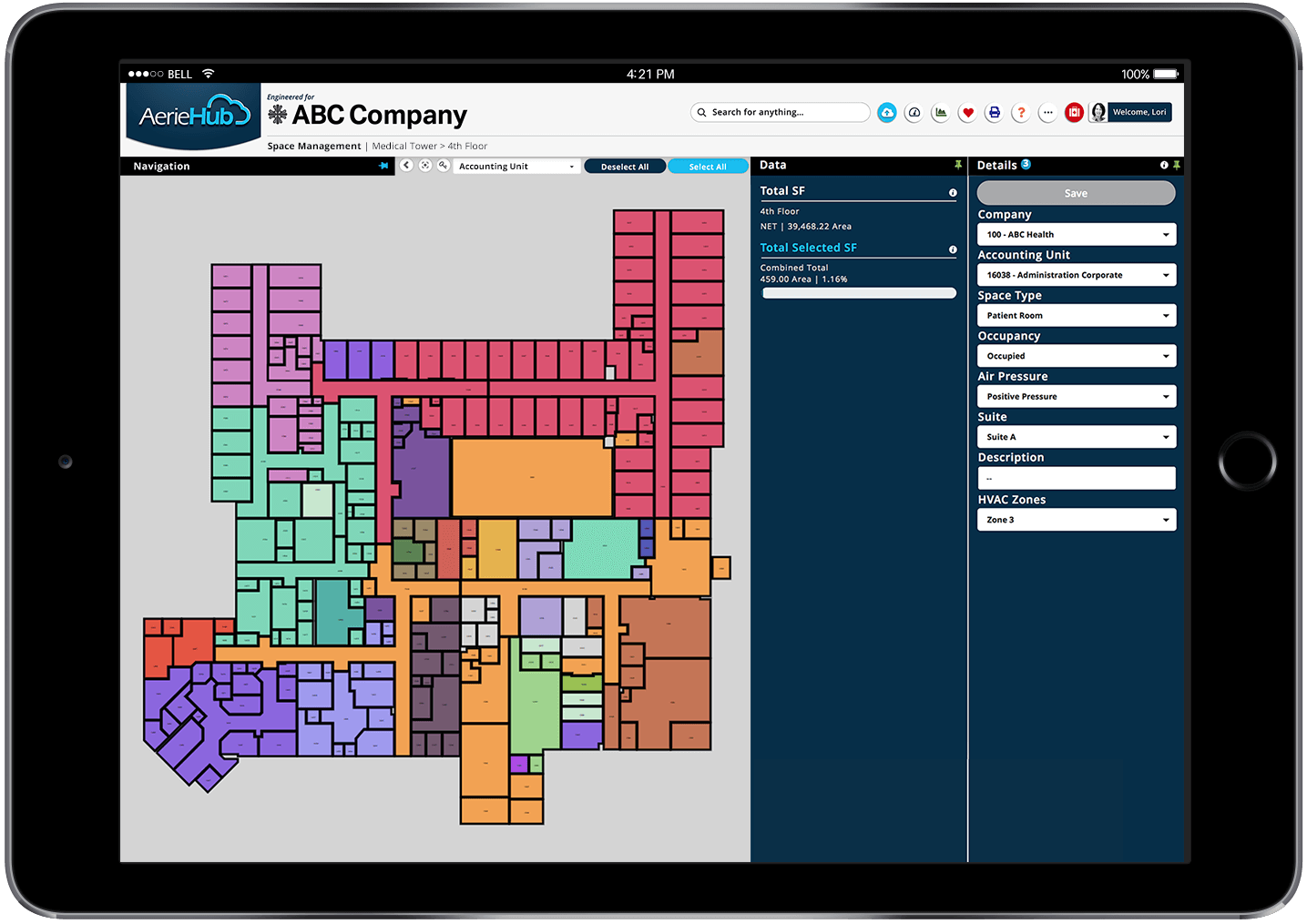 Space Management Module Image on Ipad